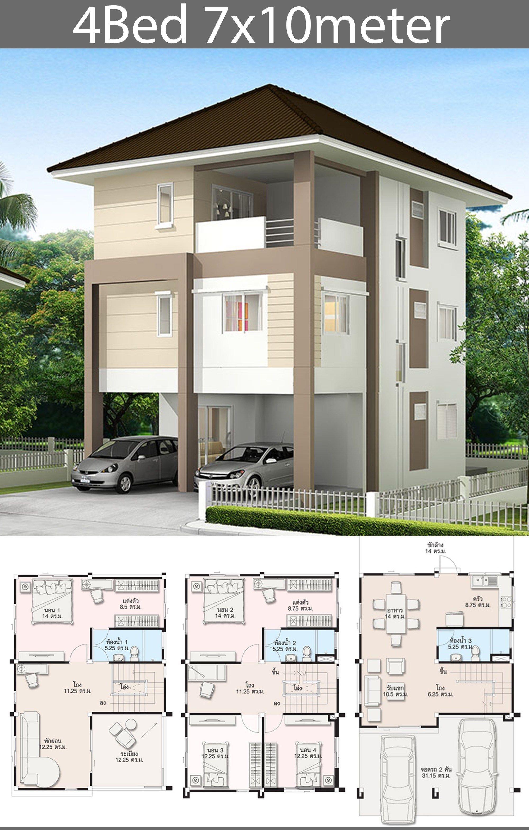 5 Ideas Home Design Plan 7x10m Samphoas Plan Home Design Plan Modern Contemporary House Plans 20x40 House Plans