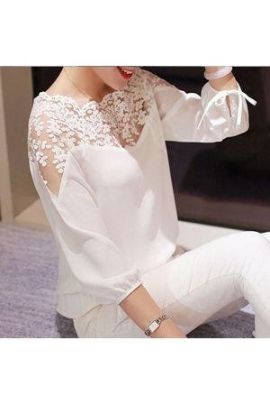 c8819400afea0 Bayan Dantelli Bluz ( şifon ) BEYAZ | giyim | Bluz, Moda stilleri ...