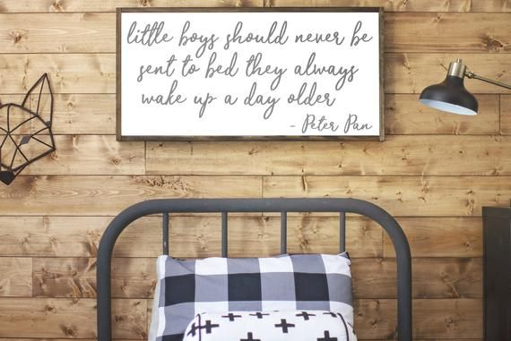 Peter Pan Nursery | Boys Room Sign | Nursery Sign for Boys | Little Boys Should Never be Sent to Bed | Peter Pan Quote | Boys Room Wall #littleboyquotes
