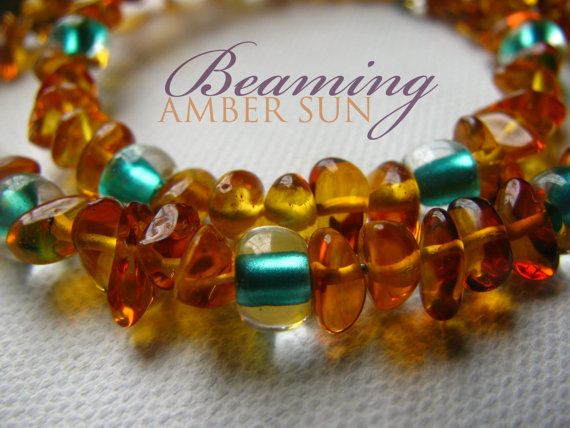 Amber Teething Necklace with by BeamingAmberSunLLC on Etsy, $19.00