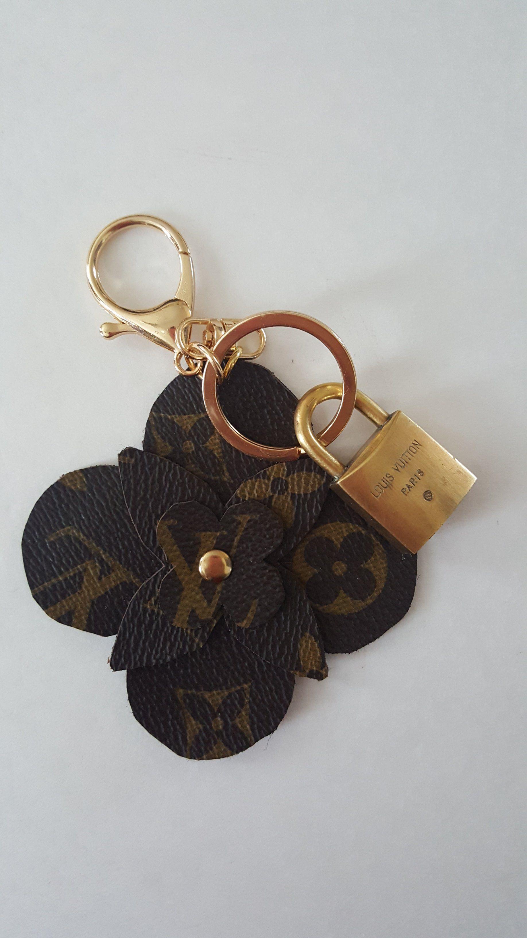 Louis vuitton reworked bag charm key ring w vintage