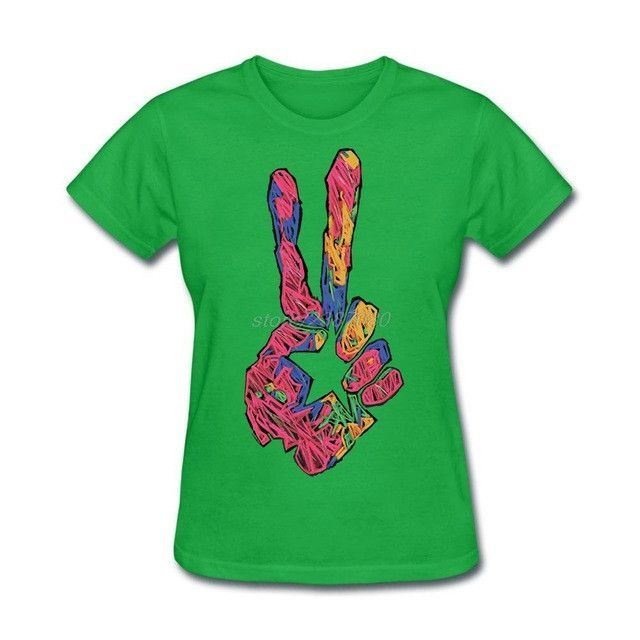 Two Fingers Hand Sign Peace Symbol T Shirts For Women Products