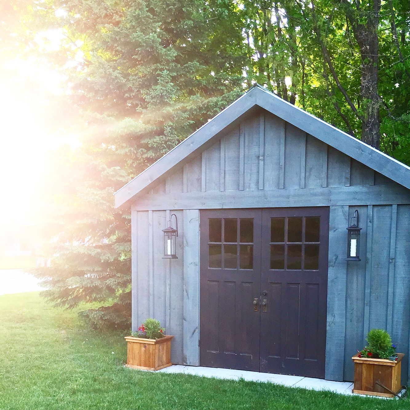 Diy shed board and batten metal roof for Board and batten shed plans