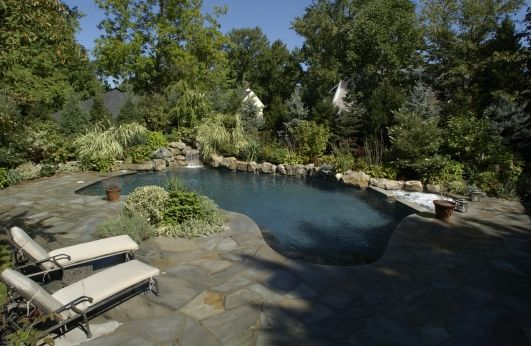 Beautiful In-Ground Pool with Natural Stone Waterfall