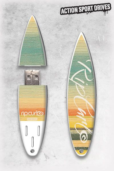 Rip Curl SurfDrive : Live the Search USB Flash Drive // Action Sport Drives have teamed up with the best surfboard companies in the industry to create the original USB Flash Drive short surfboard. We've combined this innovative design with Rip Curl graphics like their Live the Search Model.    Now you can get your favorite surfboard graphics, and transfer files in style.
