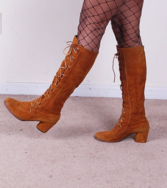7658494330e9e Vintage 1960s MoD 60s lace up brown tan suede tall leather boots sz ...