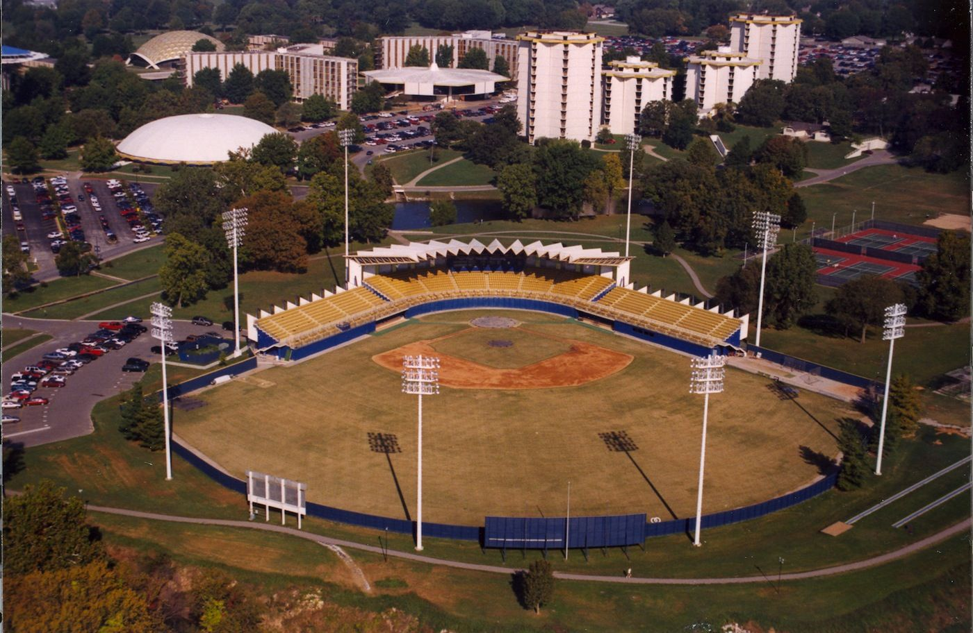 Here S An Old Photo Of The Baseball Stadium At Oru The Campus Has Definitely Changed Within The Years Baseball Stadium Old Photos