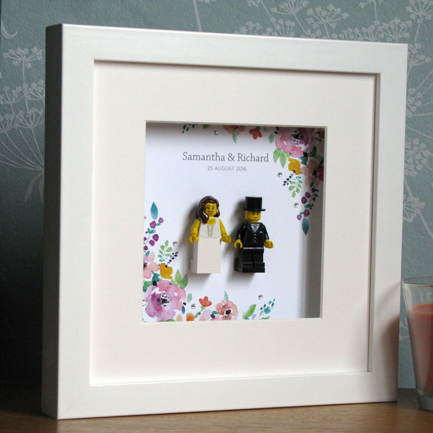 0017lw Bride Groom Lego Wedding Customisable Wall Art Frame By