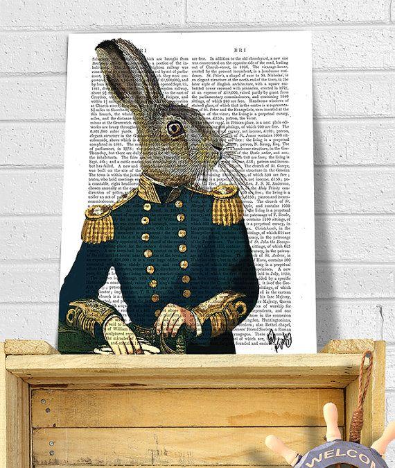 Lieutenant Hare : Military Print rabbit print Wall Art di FabFunky