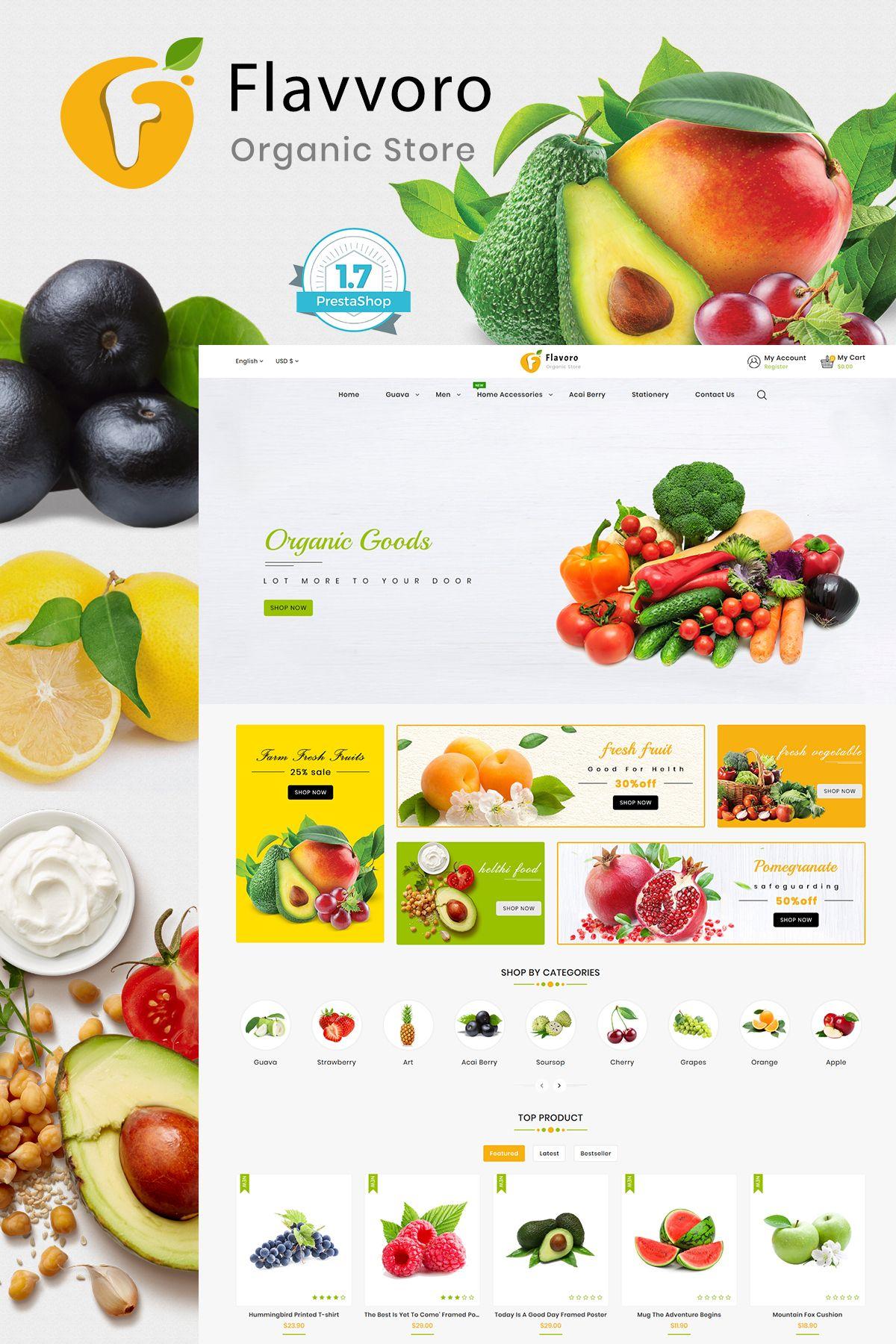 Flavoro Fresh Organic Store Template Food Web Design Ecommerce Website Design Restaurant Themes