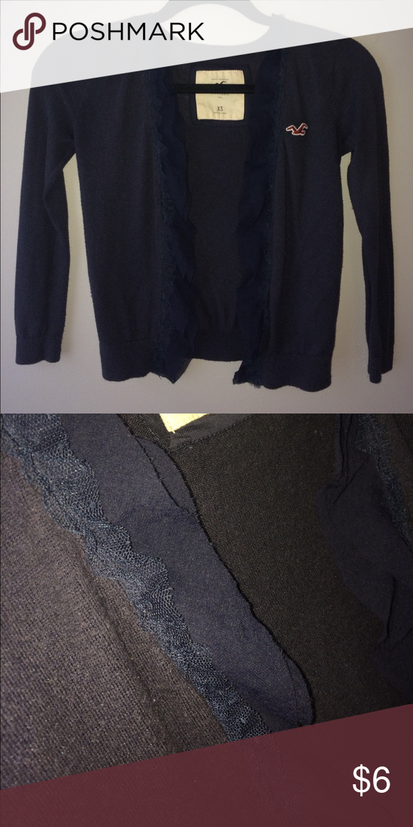 Navy cardigan Your cute cardigan great for dressing up and down! Has frills on the lining in pic 2! Hollister Tops
