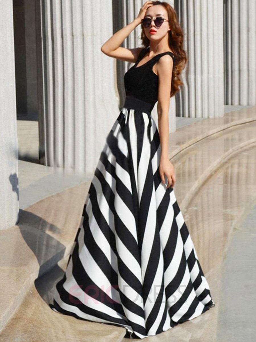 Ericdress Vertical Striped U Neck Expansion Maxi Dress Maxi Dress Striped Maxi Dresses Long Maxi Dress [ 1200 x 900 Pixel ]