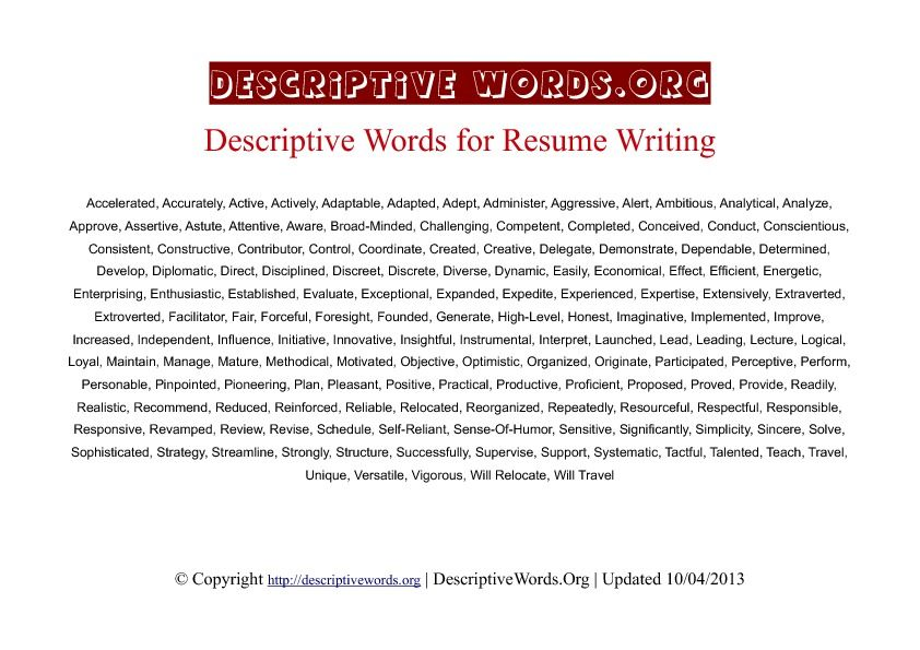 Resume Writing Descriptive Words reentering workforce Resume