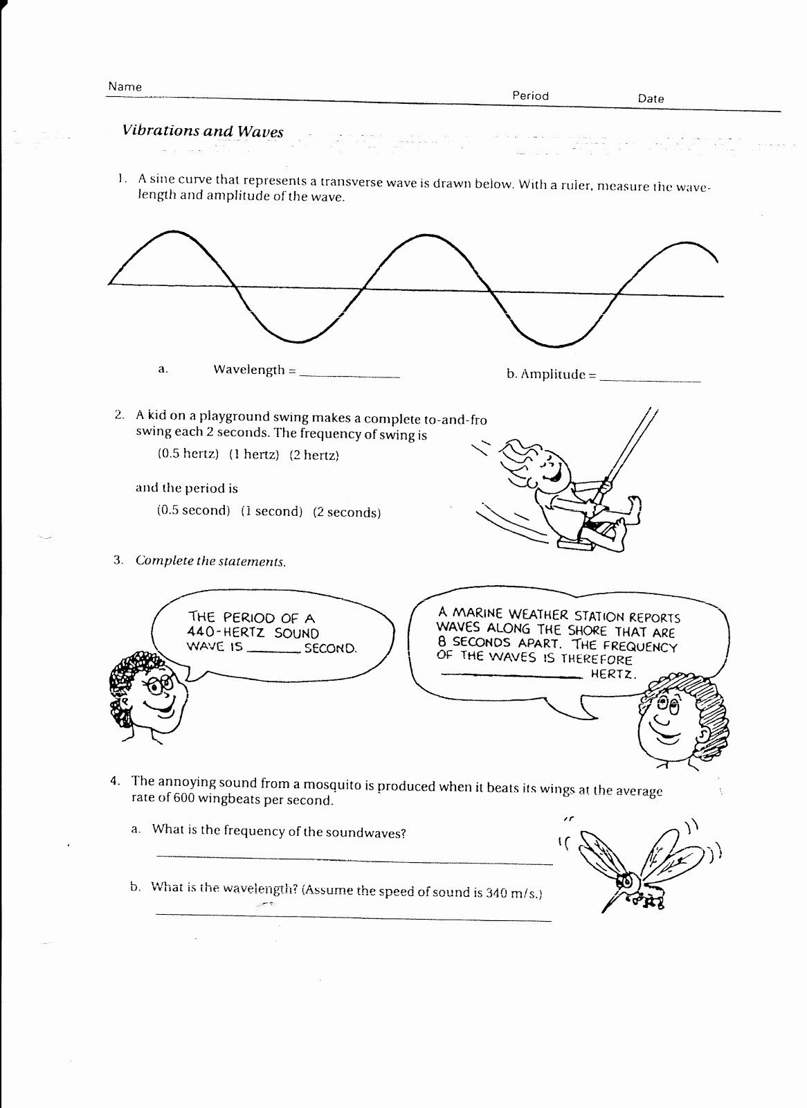 Worksheet Labeling Waves Answers