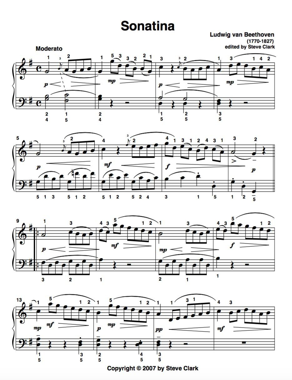 Sonatina in G Major, Anh  5, No  1 ~ I  Moderato by Beethoven