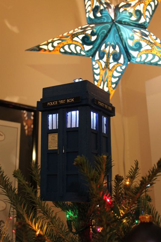 My husband challenged me to make a TARDIS tree topper.  I saw his challenge, then made it light up.