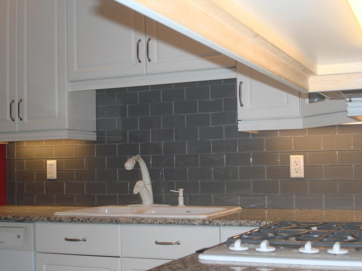 glass tile backsplash pictures | Gray glass backsplash 3x6 | New ...