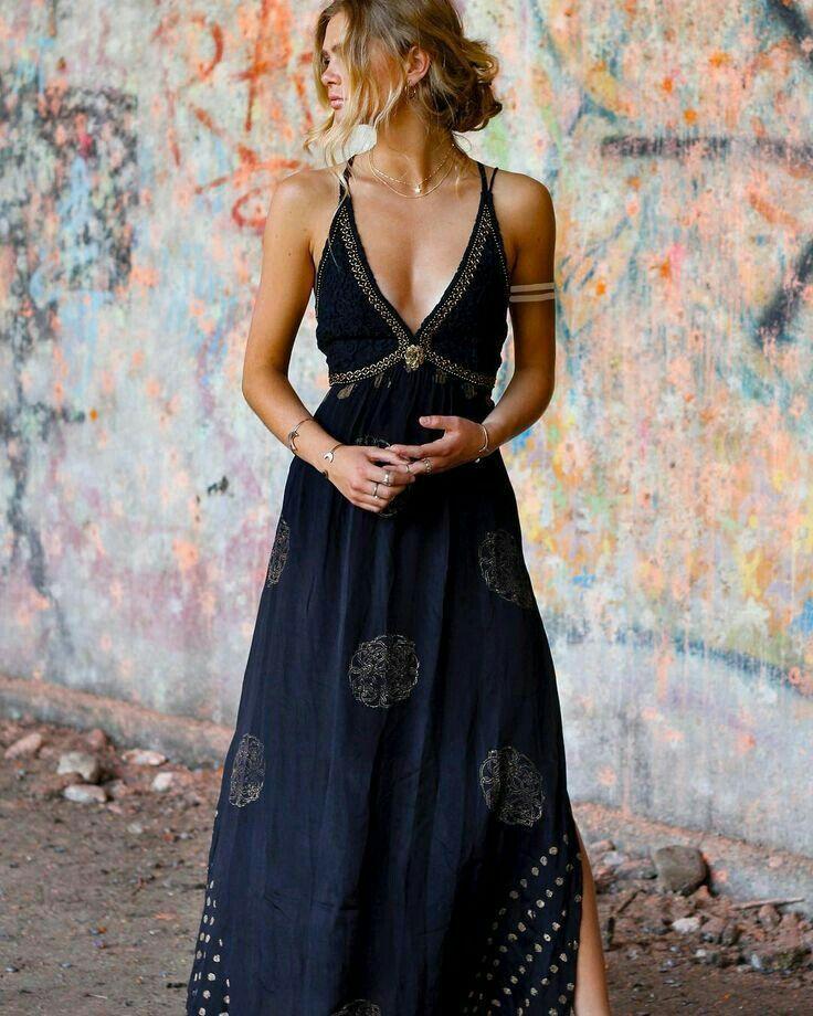 Deep V Neck Elegant Black Maxi Dress 7