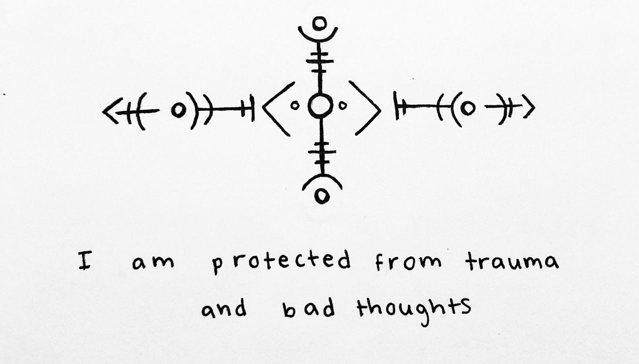 """""""I am protected from trauma and bad thoughts"""" sigil for anonymous Sigil requests are open ! -Mod Pyre"""