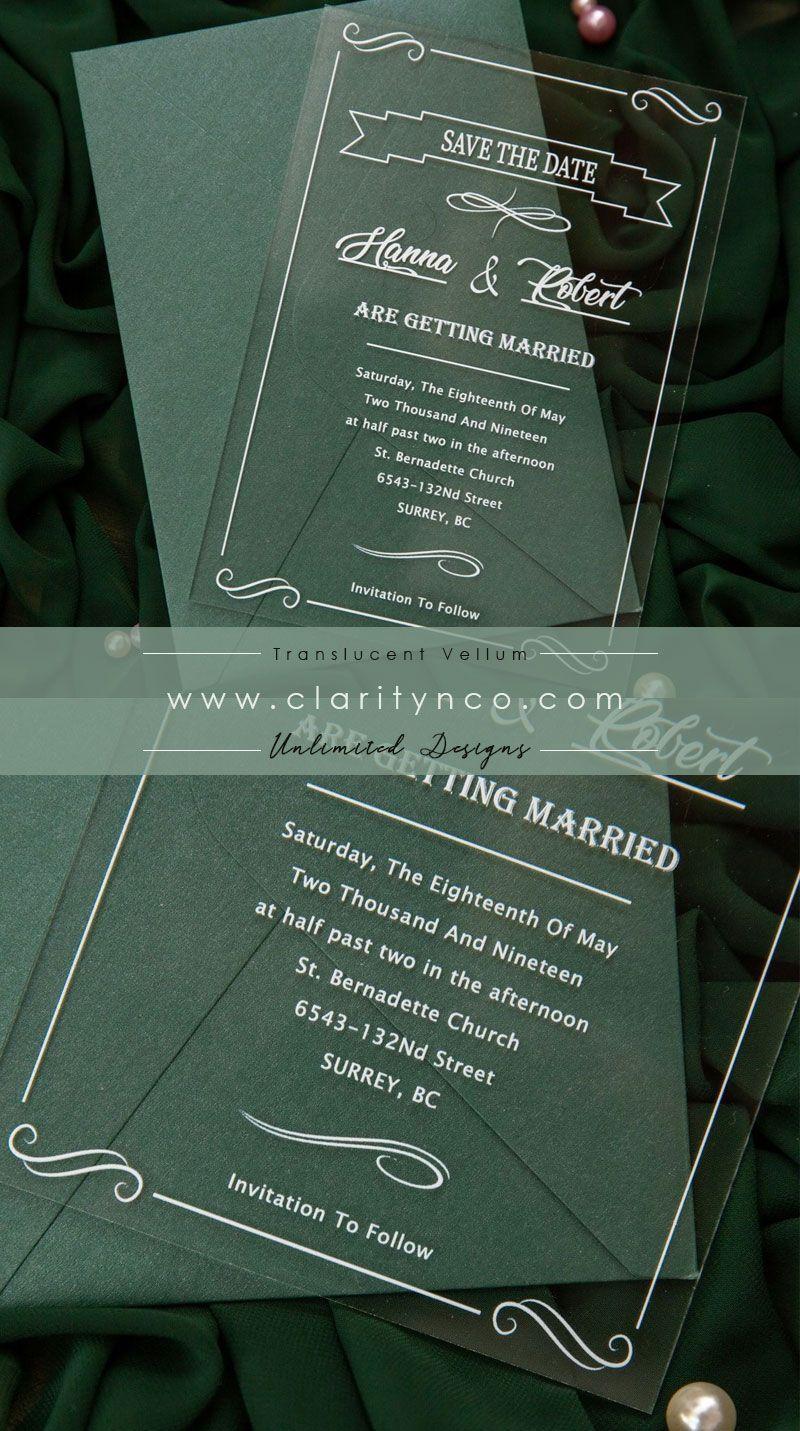 Calligraphy Acrylic Wedding Invitations With Frames CA037