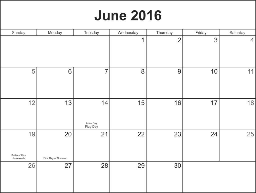 June 2016 Calandar Printable Calendar Template Printable