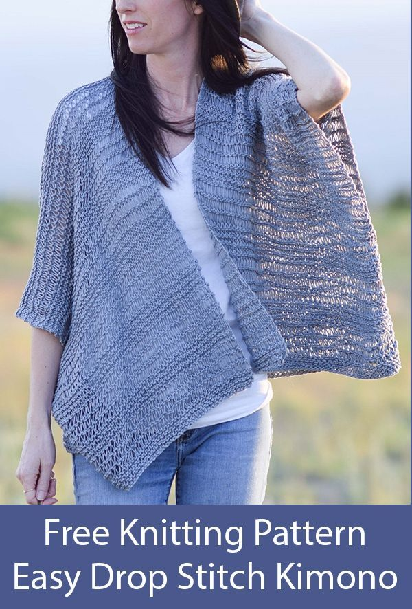 Free Knitting Pattern for Easy Drop Stitch Cotton Kimono ...