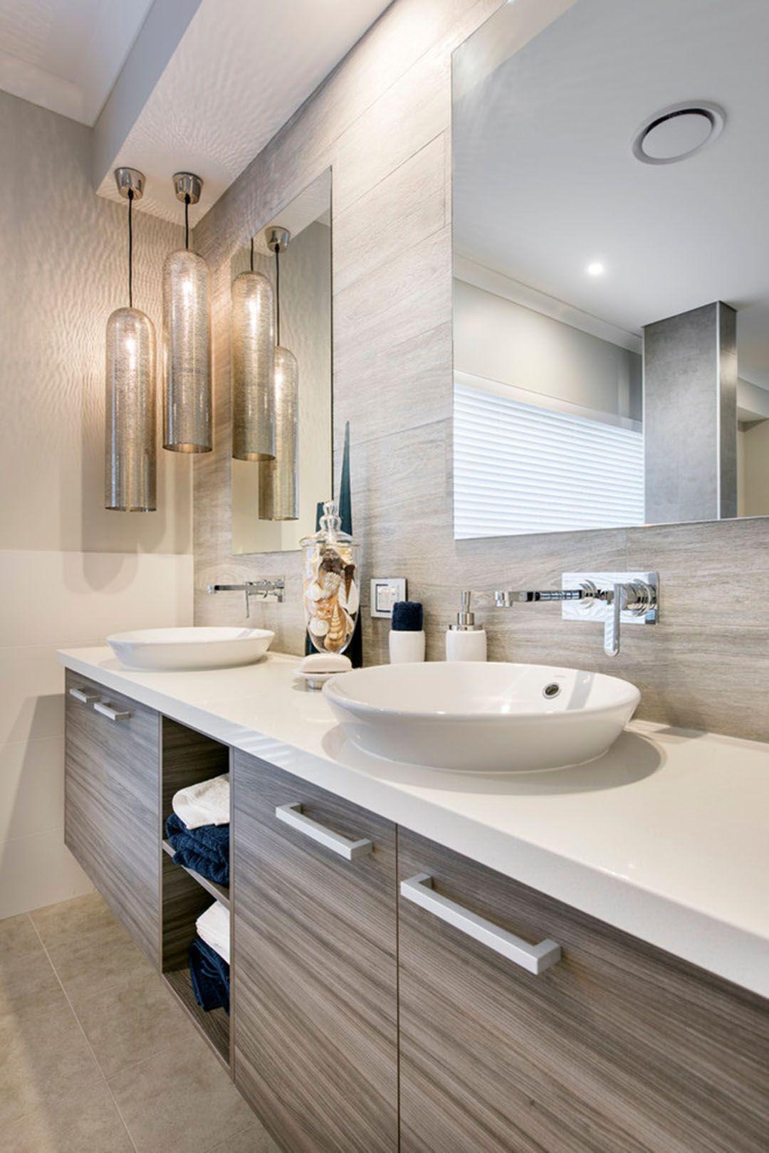 Meuble De Salle De Bains Pour Deux Vasques Et Luminaires Déco Design