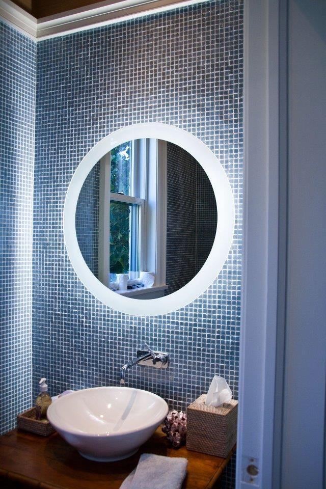 Backlit Round Blue Mirror