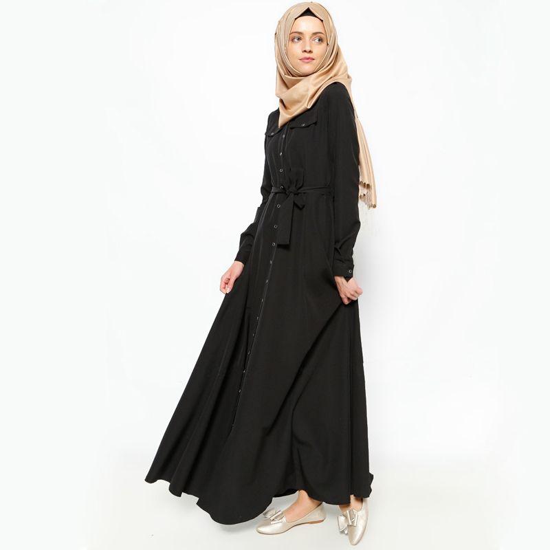 211356bb9c Fashion Button Front Nida Muslim Dress Abaya in Dubai Islamic Clothing For Women  Muslim Abaya Jilbab Djellaba Robe Musulmane EID Price  53.20   FREE ...