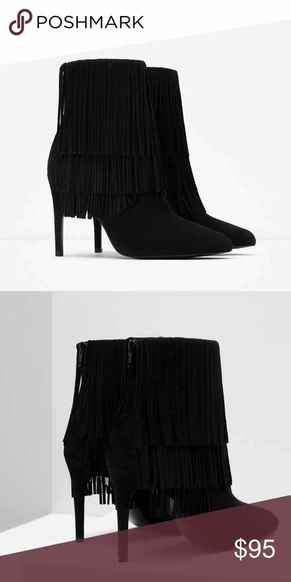 dd38bb983d6 ZARA - Suede Leather Fringe heeled boots