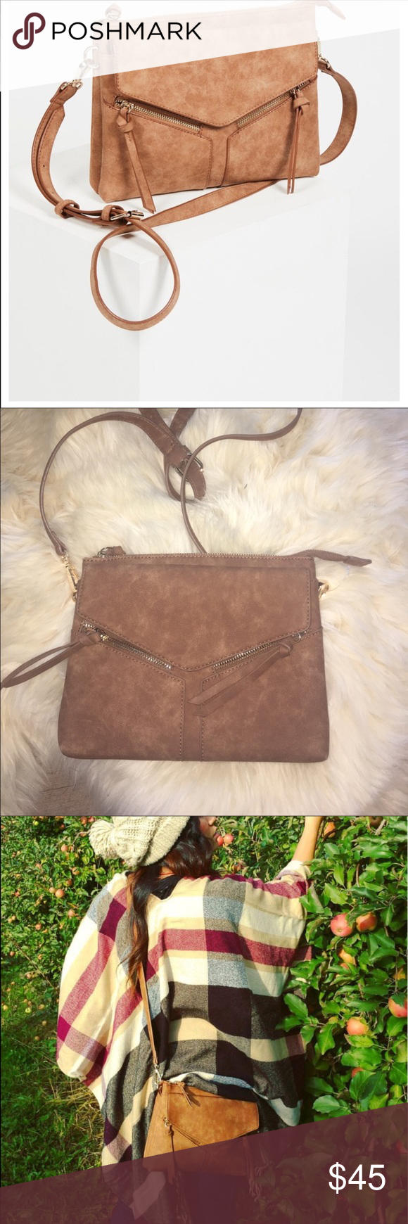 5d74574414 Free People Laurie Vegan Crossbody in Cognac From Free People Line Violet  Ray Violet Ray Leanna faux leather crossbody bag. Magnetic snap button flap  pocket ...