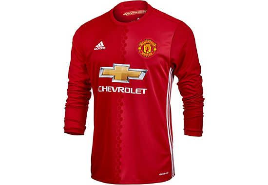 reputable site d4be7 73313 adidas Manchester United L/S Home Jersey 2016-17 ...