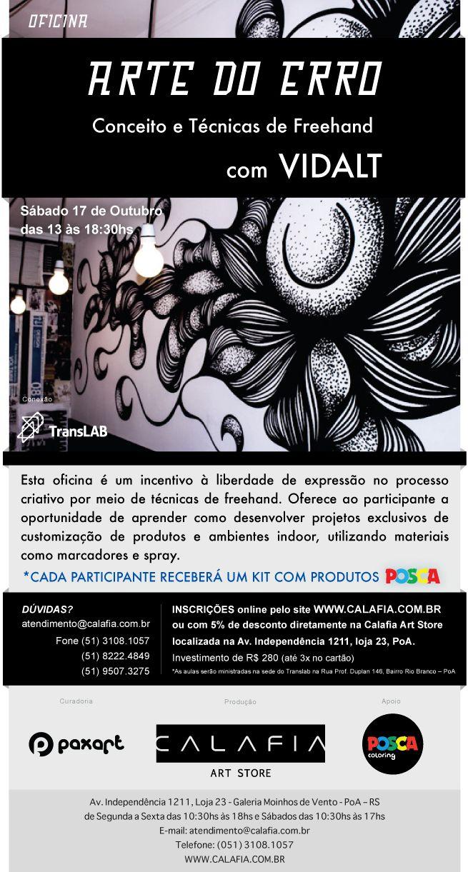 Publicação no site da Calafia Art Store do Workshop que realizarei em Porto Alegre em pareceria com a Calafia e Paxart com o apoio da POSCA.  http://www.calafia.com.br/curso/a-arte-do-erro%E2%80%9D-%E2%80%93-conceito-e-tecnicas-de-freehand-com-caio-martins/