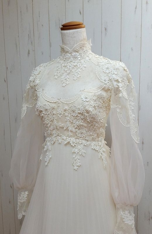 Charming Wedding Dresses,White A-line High Neck Bridal Gowns, Long Sleeves Bride Dresses.W101