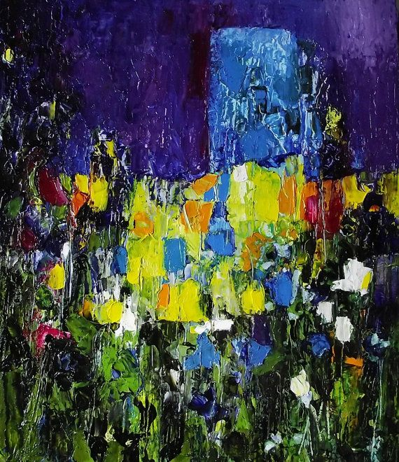 Abstract landscape painting, original oil on canvas, bright blue, yellow, violet, 12 x 10