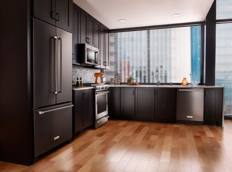 I Like The Black Stainless Steel Appliances With The Dark Cabinets