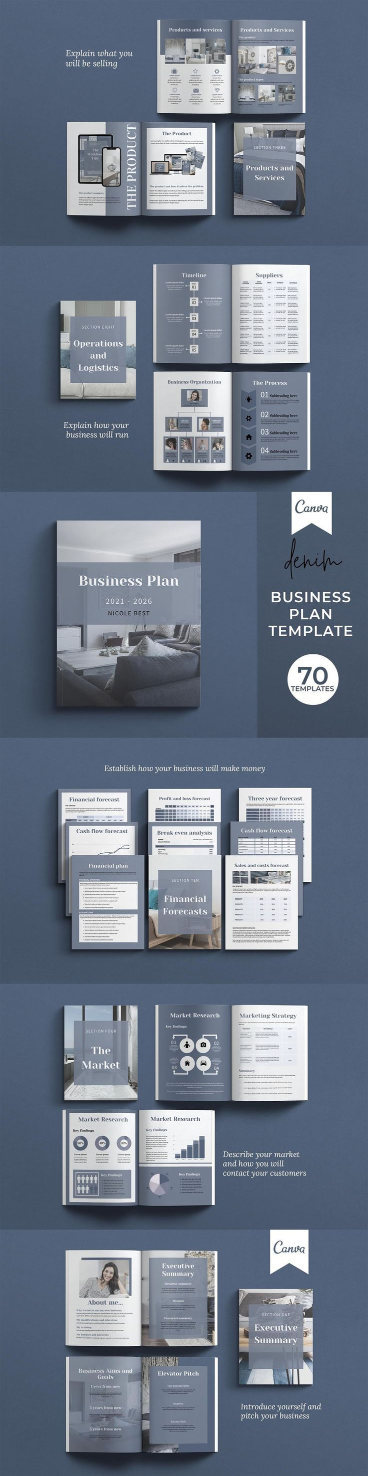 Canva Template Business Plan / 70 Pages. File Size: 3.1 MB. Layered. 70-page Canva Small Business Plan Template in both A4 and Letter sizes.. 3 front covers