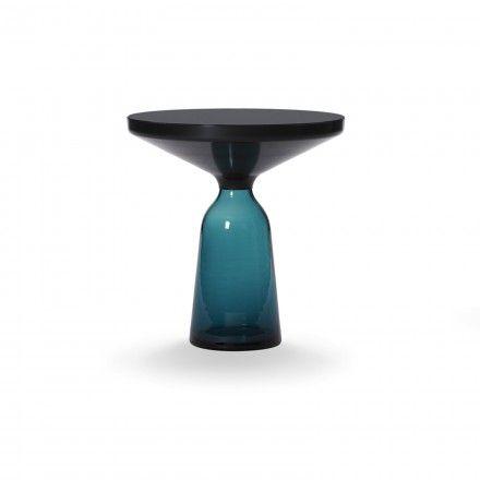 Bell Side Table brass, blue