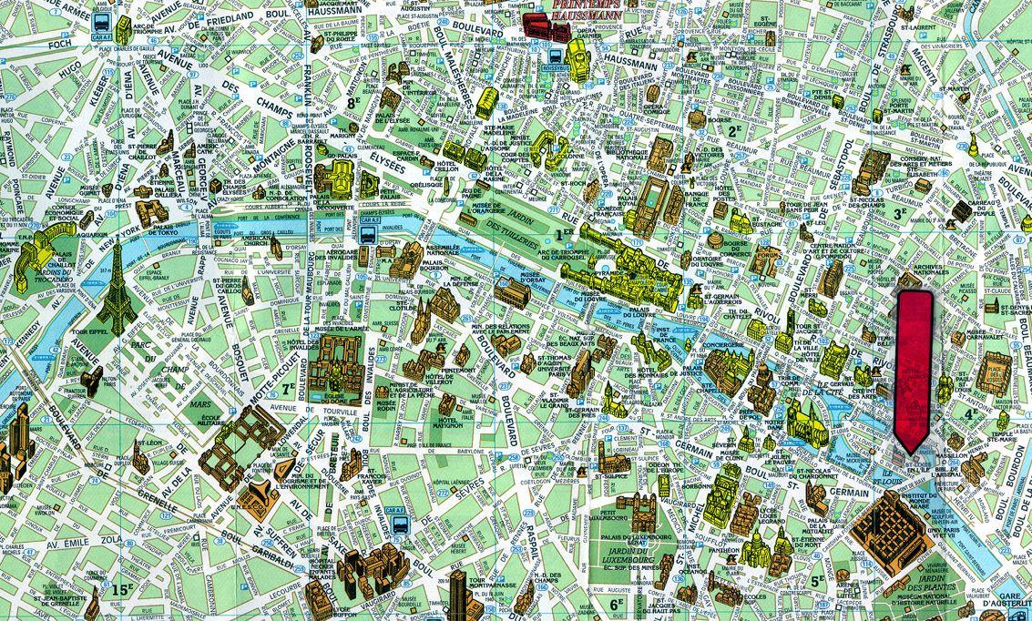 Paris tourist map. | Paris, France | Pinterest | Tourist map, Paris ...