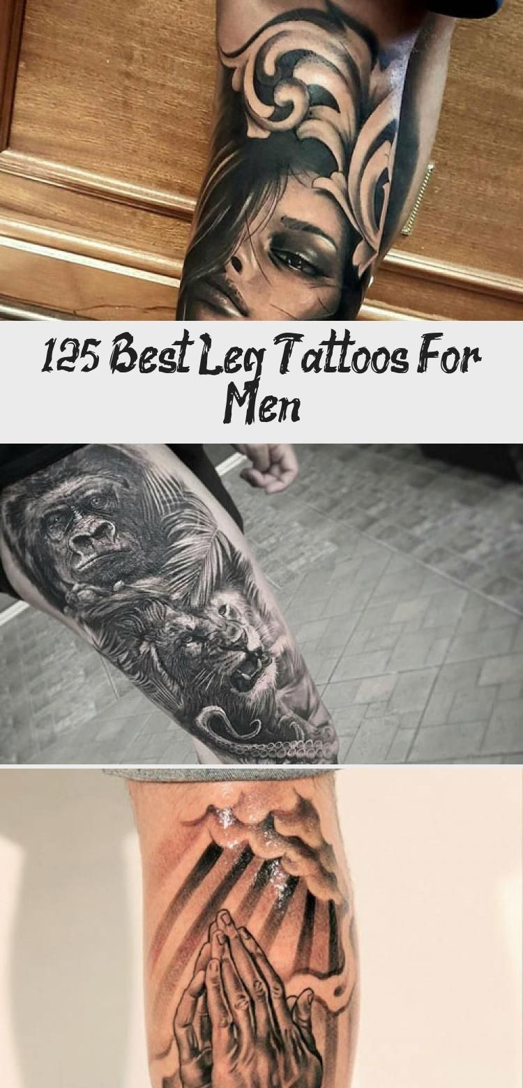 Black and White Leg Tattoos - Best Leg Tattoos For Men: Cool Lower, Upper, Side