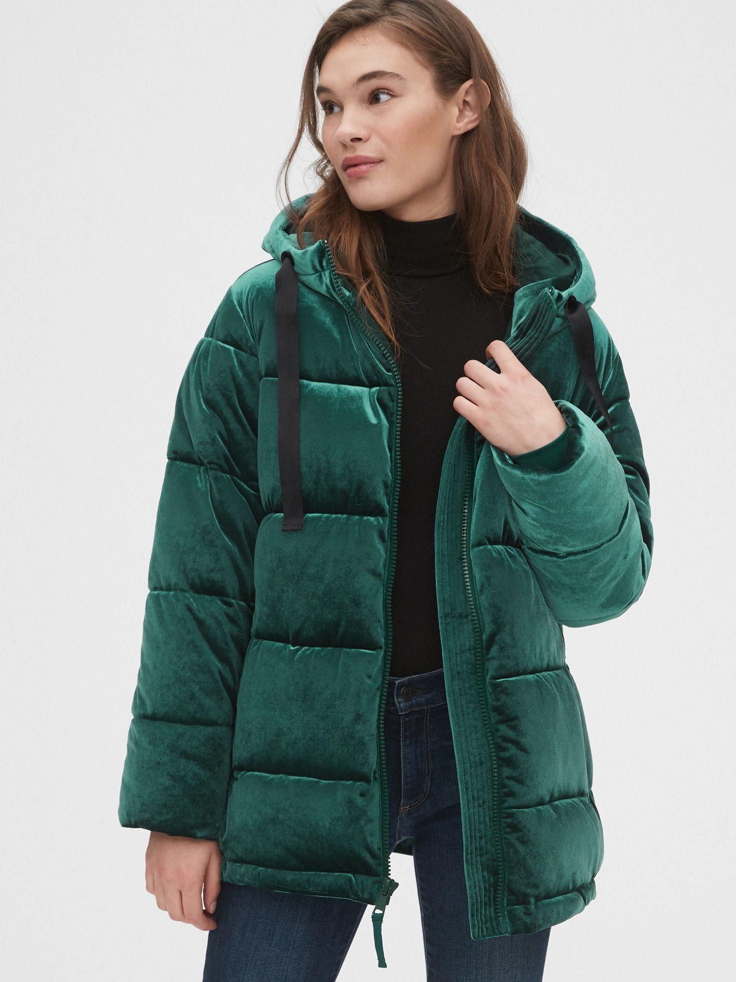 Gap Women S Coldcontrol Max Hooded Velvet Puffer Jacket Greenery Puffer Jackets Jackets Puffer [ 2000 x 1500 Pixel ]