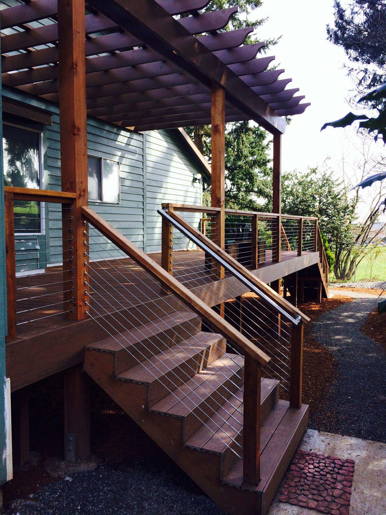 Timbertech Terrain Decking Cedar And Stainless Cable