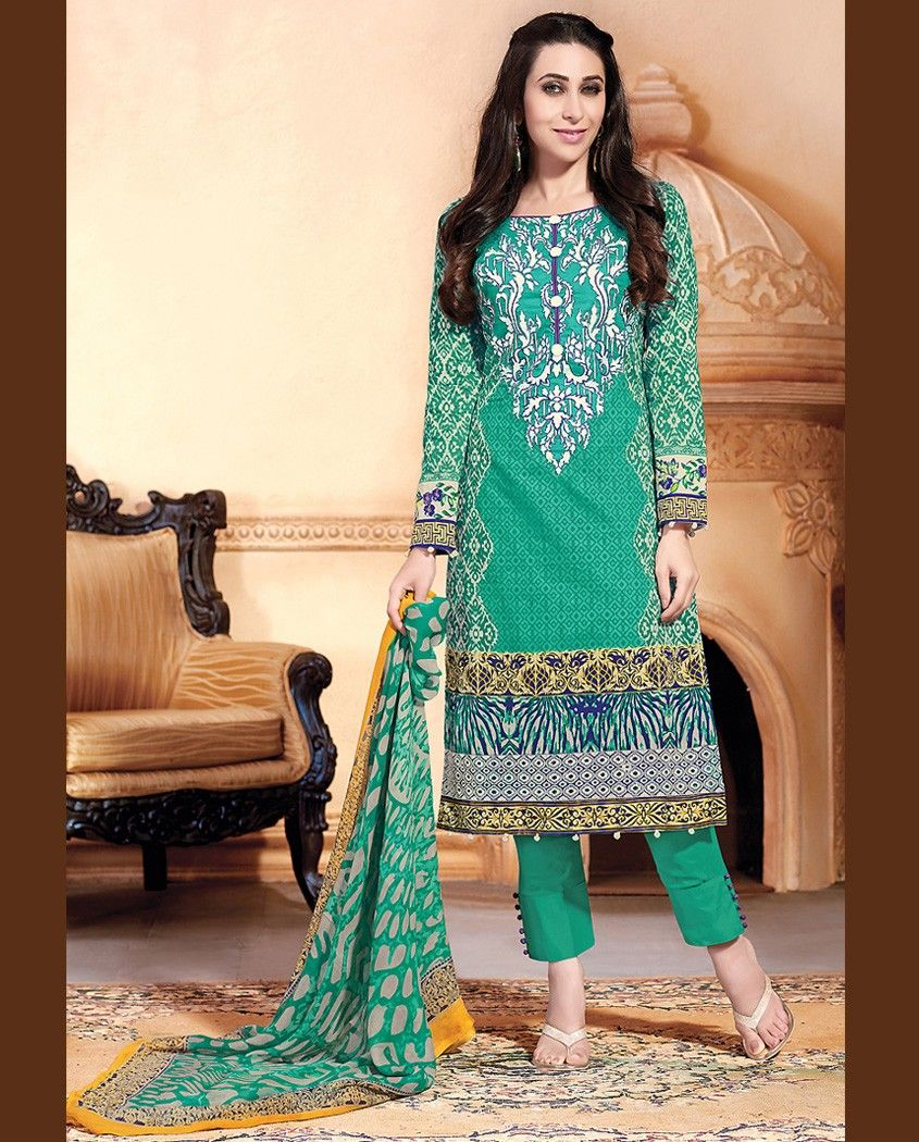 Green printed pant stlye suit   1. Green lawn cotton suit2. Comes with matching bottom and dupatta3. Can be stitched upto bust size 42 inches
