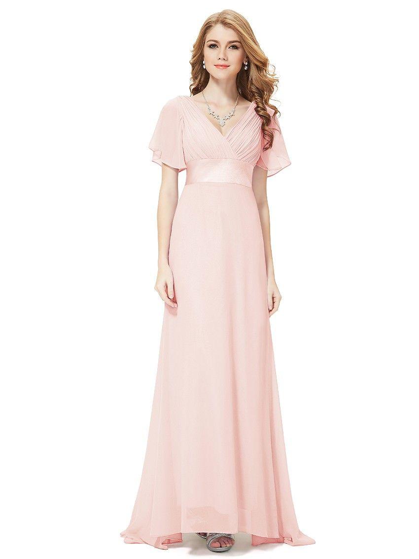 4a8e70828d2 Long Empire Waist Evening Dress with Short Flutter Sleeves