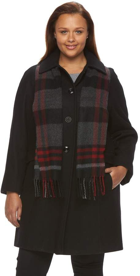 89276912a00d9 Towne By London Fog Plus Size Towne by London Fog Wool-Blend Coat