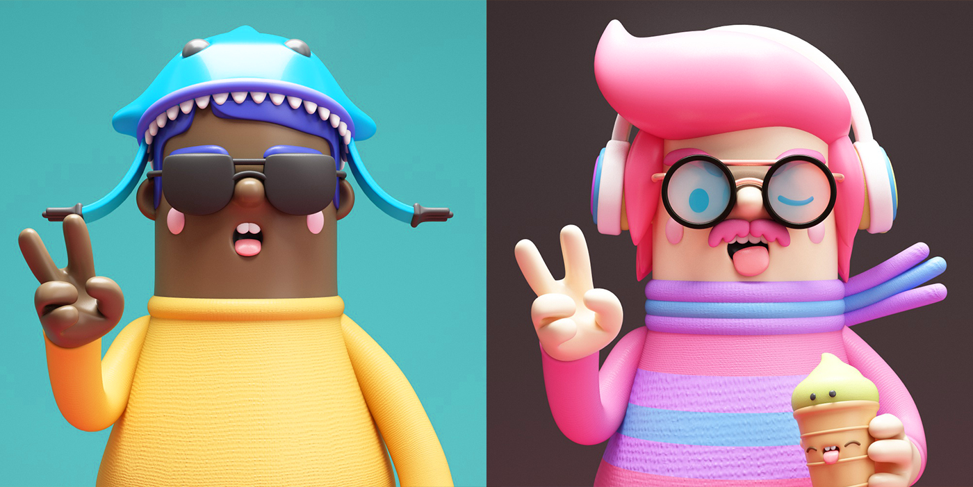 person, 3D, characters, c4d, hipster, fixed, fun, design