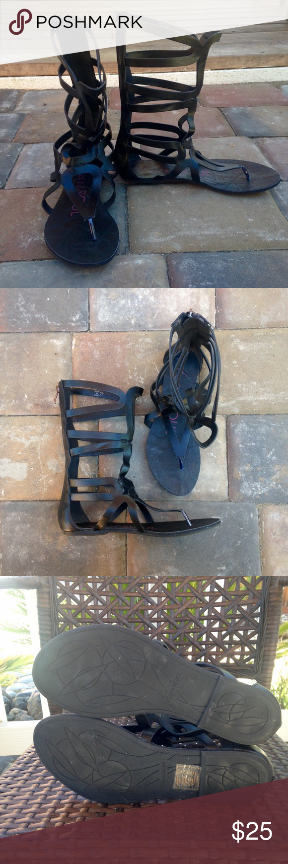 Mid Calf Gladiator Cute black mid calf gladiators. Only worn once. HeartSoul Shoes Sandals