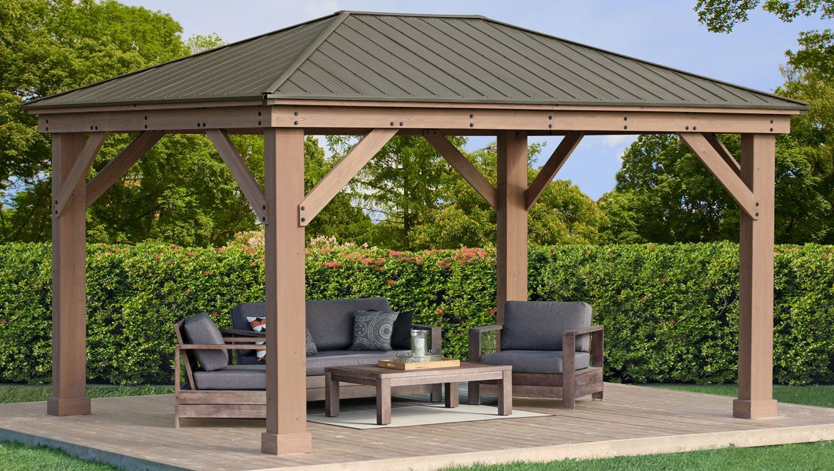 12 X 16 Wood Gazebo With Aluminium Roof Yardistry Structures Gazebos Pavilions And Pergolas In 2020 Gazebo Aluminum Roof Patio Shade