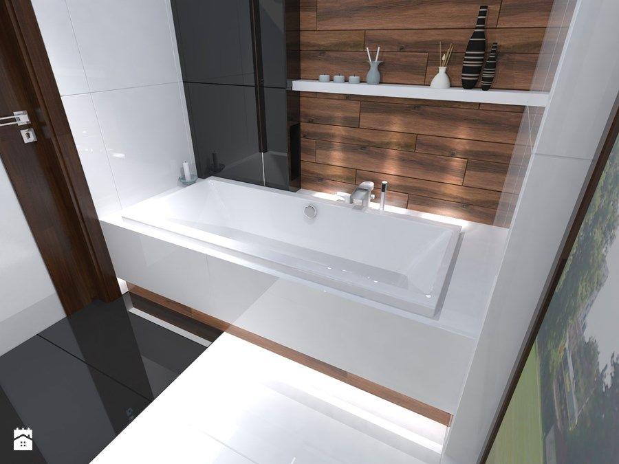 Aranżacje Wnętrz łazienka łazienka Biel Czerń Drewno