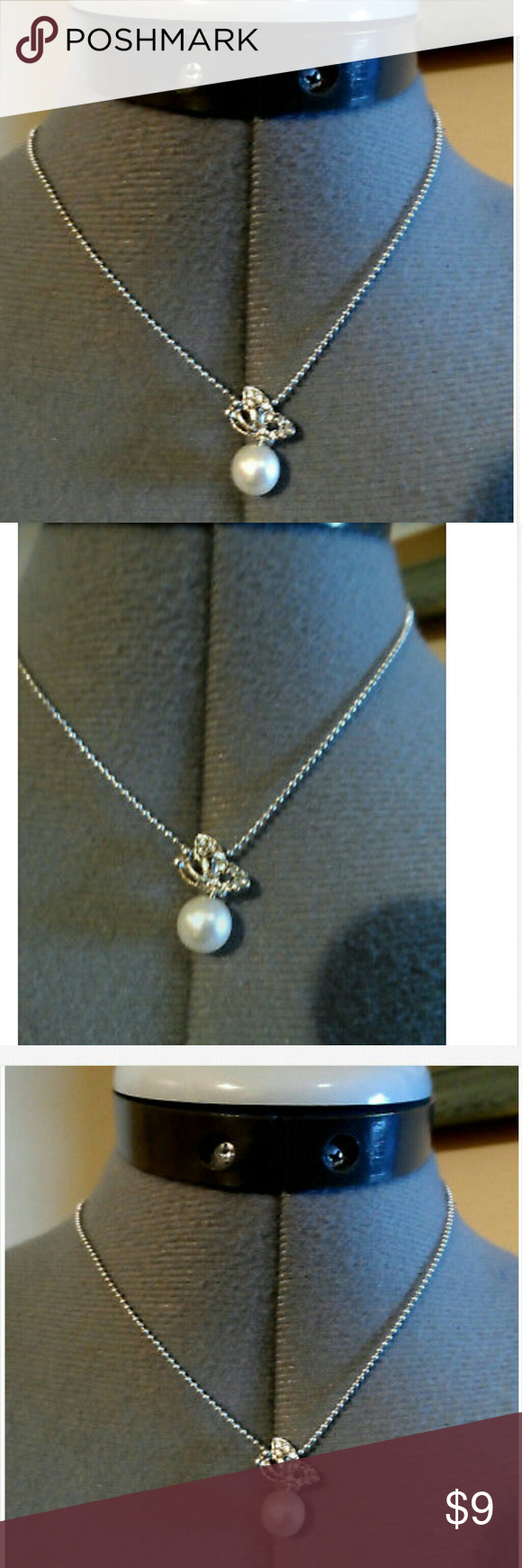 New butterfly pearl pendant u necklace set